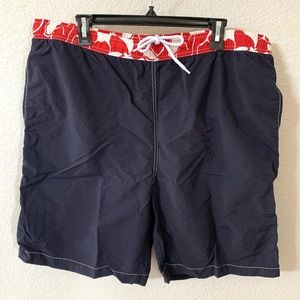 Landsend Navy Swim Trunk Red Hawaiian Floral XL
